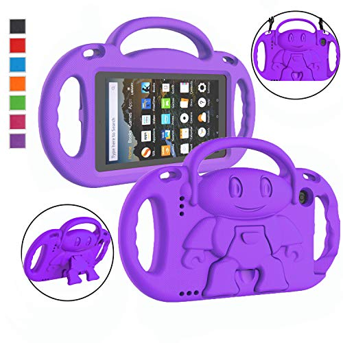 """LTROP All-New Fire 7 Tablet Case, Fire 7 2019/2017 Case for Kids - Light Weight Shock Proof Handle Stand Child-Proof Case for Fire 7"""" Display Tablet Bumper Cover (2019&2017 Release) - Purple"""