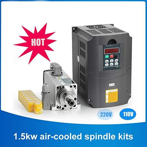 WANGYONGQI 1.5kw luftgekühlten spindelmotor kit CNC spindelmotor + 220 V / 1.5KW wechselrichter Platz fräsmaschine spindel Platz