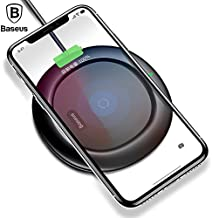 Wireless Charger, Baseus Qi Wireless Charger Ultra Slim for iPhone X 8 Plus for Samsung Note 8 S8 Plus S7 edge UFO Pad Charger (No AC Adapter) (Black)