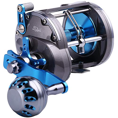 Sougayilang Trolling Reel Saltwater Level Wind ReelsConventional Reels Boat Fishing Ocean Fishing for Sea Bass Grouper SalmonSHA4000 Right HandedNO Line Counter