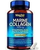 Marine Kollagen 1130mg Komplex - 120 Kapseln mit Hyaluronsäure und Vitamin C & E - Premium-Ergänzung mit hydrolysiertem Kollagen Typ 1 für Frauen und Männer