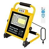 Lampe Chantier Portable Hand Lamp, Rechargeable Lamp de Travail,60W LED Projecteur d'urgence Rechargeable Lumière, 6000K Blanc,...