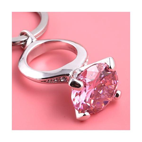 MILESI Shining Crystal Diamond Ring Car Keychain Rhinestones Charm Key Chain Gift for Women