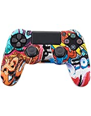 SKEIDO Gamepads Camouflage Case Graffiti Studded Dots Silicone Rubber Gel Skin for Sony PS4 Slim/Pro Controller Cover Case for Dualshock4 Cartoon game