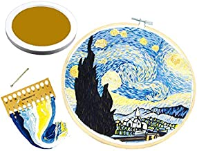 Mcorb Printed Embroidery DIY kit with Pattern and Instructions, Plastic Embroidered Hoop,English Instruction,Color Threads Needle kit,Gift, Decoration,Attached Photo Frame (Star Extremely Difficult)