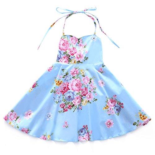 Flofallzique Floral Toddler Dress Summer Vintage Girls Party Dress Kids Sundress(2, Blue)