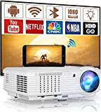 HD Wifi Bluetooth Projector Smart Wireless LCD LED Home Theatre Outdoor Movie Projector 5000 Lumens Support 1080P Multimedia HDMI USB VGA AV Audio Out Compatible with Phone Laptop TV Box Game Console