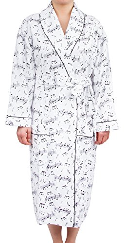 Leisureland Women's Cotton Flannel Novelty Long Robe (One Size, Music Notes White)
