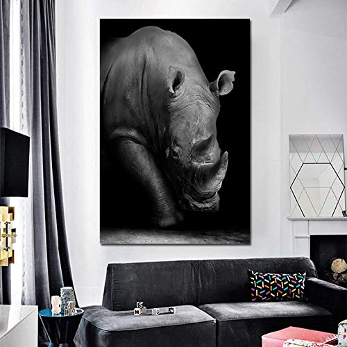 QZROOM Rinoceronte Arte Realista Lienzo Pintura decoración de la habitación Cuadro de Arte de Pared Moderno para decoración del hogar Arte de pared-60x90cm sin Marco