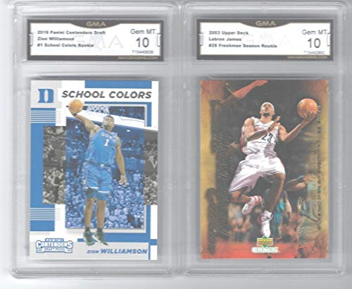 LEBRON JAMES UPPER DECK and ZION WILLIAMSON PANINI CONTENDERS 2 CARD ROOKIE LOT GRADED GEM MINT 10