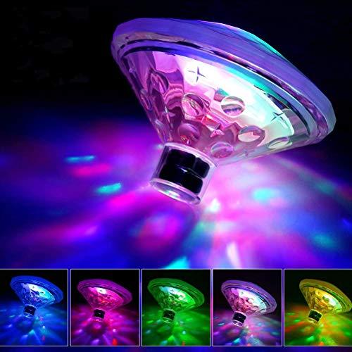 Akemaio Disco Schwimm LED Bad, Spa, Pool-Licht, Badewasser-Schwimmer Licht Spielzeug-Swimmingpool-Licht batteriebetriebenes LED-Licht mit 7-Modi-Bad-Spielzeug für Bad Pool-Party