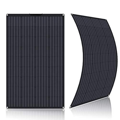 SARONIC Panel Solar ETFE Flex Monocristalino Semiflexible de 100W para RV, Barco, Tienda, Coche, Remolque, Batería de 12V o Cualquier otra Superficie Irregular (Negro)
