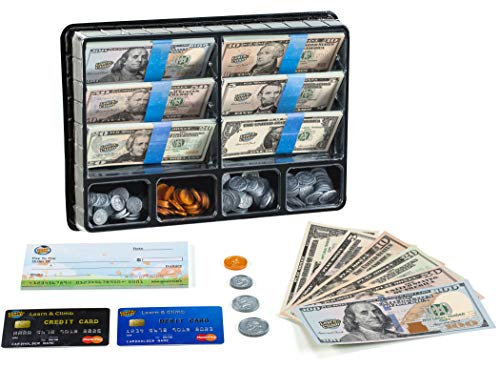 Product Image of the Play Money Set for Kids – Realistic Dollar Bills, Coins, Credit & Debit Cards...