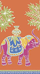 Caspari Disposable Hand Towels, Decorative Paper Guest Towels for Bathroom or Paper Napkins Dinner Napkins Safari Jungle Royal Elephant Orange Pak 30