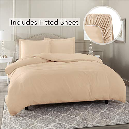 Nestl Bedding Duvet Cover 3 Piece Set - Ultra Soft Double Brushed Microfiber Hotel Collection - Comforter Cover with Button Closure, Deep Pocket Fitted Sheet, 1 Pillow Sham, Twin XL - Taupe