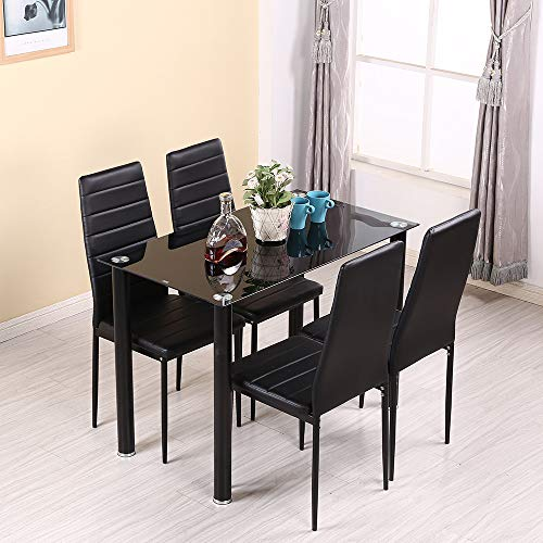 Panana GlassDining Table Set and 4 Soft Black Leather Chairs Seats Kitchen Home Set (105CM table+4 Chairs)
