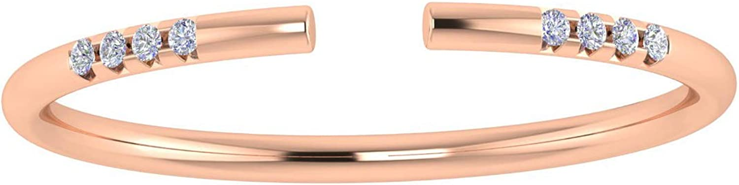 ASHNE JEWELS IGI Certified, White Diamond Open Band Ring Fine Jewelry Made in 14K Solid Rose Gold For Women & Girls