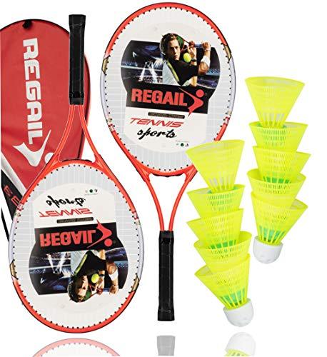 TK Gruppe Timo Klingler Speedbadminton Schläger Set inkl. Federbälle Badmintonbälle für Training & Wettkampf Badminton