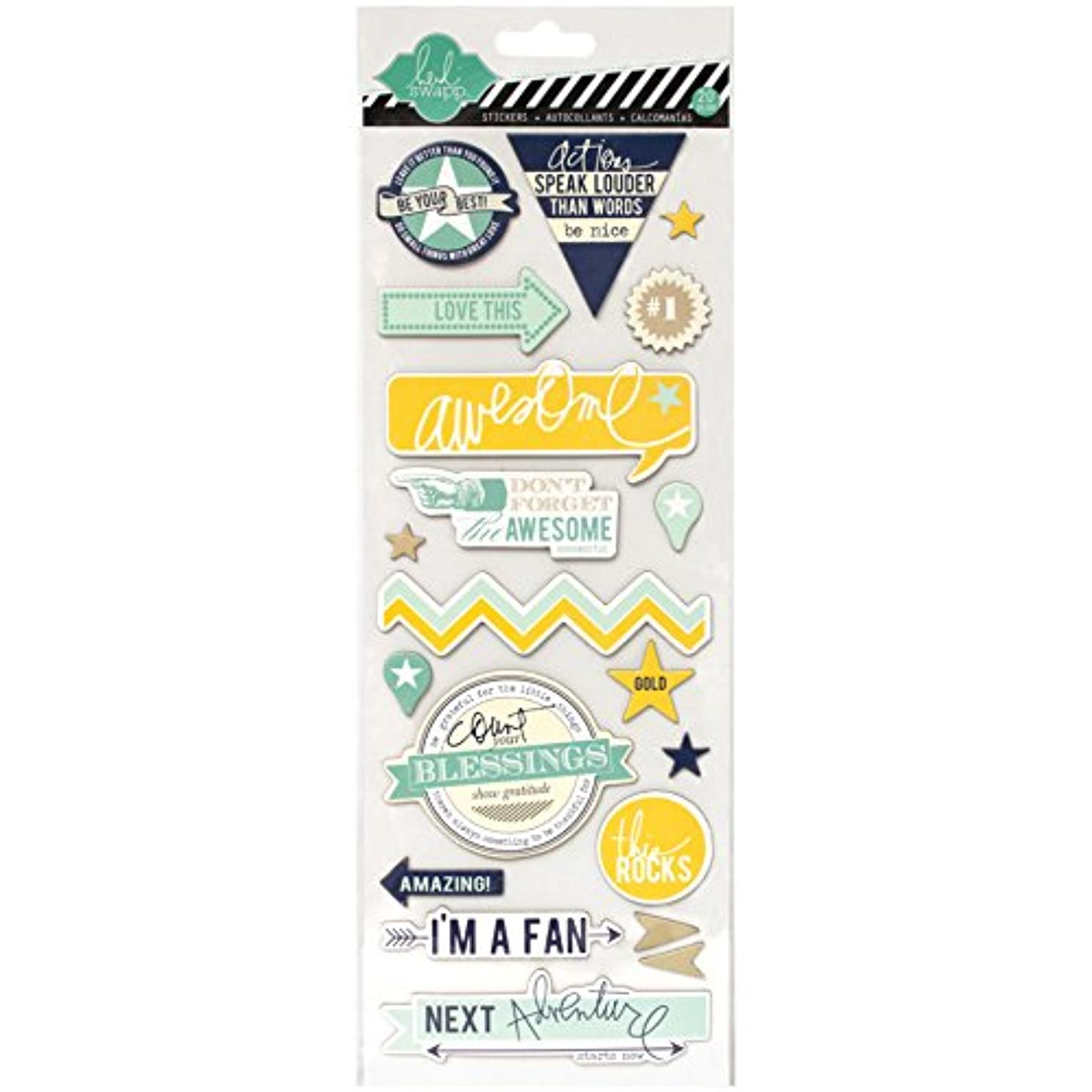 Heidi Swapp Chipboard Stickers, Awesome