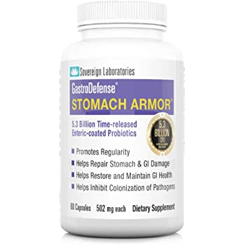 Shelf Stable Probiotic & Prebiotic   GastroDefense Stomach Armor - Supports Good Gut Bacteria, Helps Restore and Maintain Bowel Health, Aids Immune Health   60 Capsules - Sovereign Laboratories