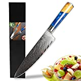 LONSDOW Professional Damascus Chef Knife 8 inch Kitchen Knives - VG10-Damascus Steel Cooking Knife Blue Resin Wood Handle with Knife Sheath - Gift Box