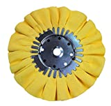 Airway Buffing Wheel 8 Inch X 3 Inch X 5/8 Arbor 16 Ply Yellow Mill Treated Buffing Pad For a Mirror Finish on Aluminum And Stainless