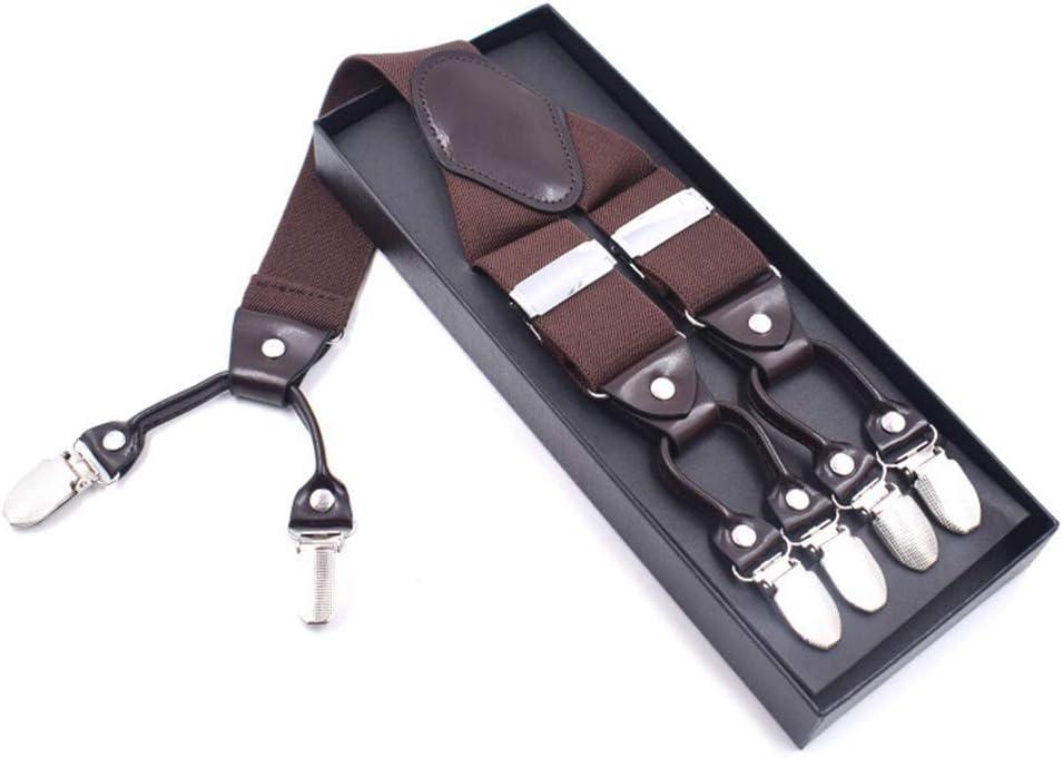 ZYDP Mens Suspenders Y-Back Wide Adjustable Solid Plain Color Straight 6 Clip Suspenders (Color : Coffee)
