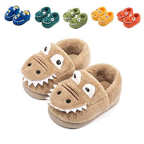 Pantofole Bambino Invernali Ciabatte Peluche Animali Caldo Morbido Scarpe da Casa Antiscivolo Pantofole per Ragazzo E Ragazze Cachi EU 23/24 (Dimensione Etichetta 160)