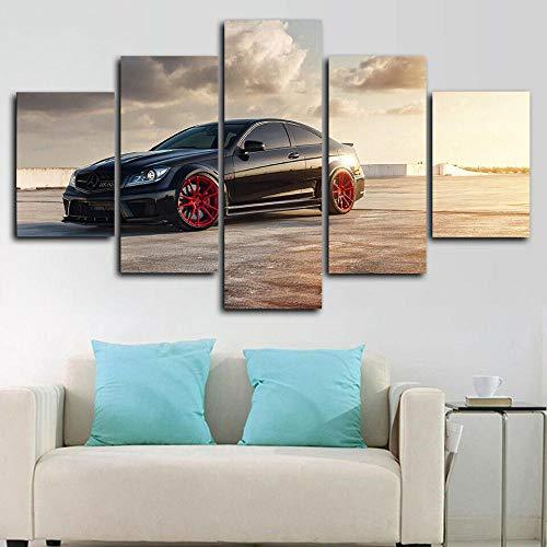 199Tdfc 5 Tafeln Wand-Kunst Bild Mercedes Ben C63 Amg Auto Poster Leinwanddruck Drucke auf Leinwand Das Bilder Öl Für zu Hause Moderne Dekoration Druckdekor(150x80cm)
