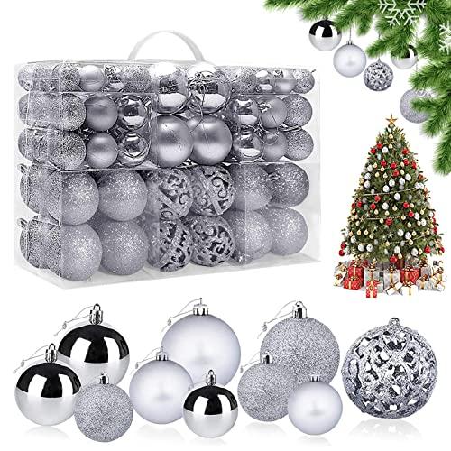 Bolas de Navidad, 100 Piezas Bolas de árbol de Navidad Bola de Decoración Navideña Bolas de Navidad Decoración Adornos de Bolas de Navidad, para Navidad Decorar y Fiestas (Plata)