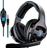 Nuevo SADES SA810 Multi-Platform Auriculares Gaming, 3.5mm Gaming auriculares con micrófono inteligente cancelación de ruido para nueva Xbox One/PS4/portátil/Mac/iPad/iPod(negro& azul)