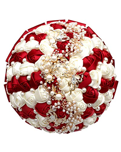 Fiwisora Wedding Bouquet Bridal Holding Brooch Bouquet, Bridesmaid Satin Rose Artificial Pearls Satin Ribbons, 8″ Custom-Made Available Wedding Floral Bouquet Centerpiece Arrangement