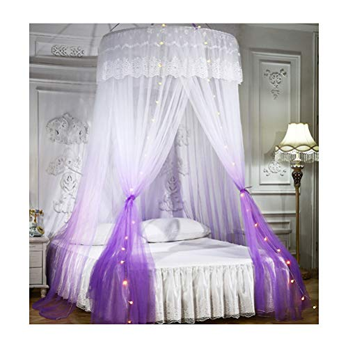 BECF No Need To Install Mosquito Nets, Large Floor-Standing Mosquito Nets, Lace Princess Style Dome Ceiling with Yarn Encryption Double Home,Purple,1.2 beds