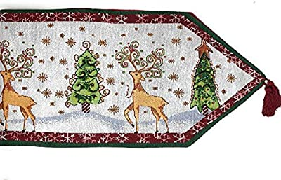 Tache Winter Forest Reindeer Antique Vintage Christmas Eve Snowflakes Holiday Season White Decorative Woven Tapestry Table Runners, 13 x 72