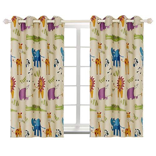 BGment Gardinen Kinder Ösen-Vorhänge verdunklung vorhänge für Wohnzimmer,Kinderzimmer,Schlafzimmer,Zoo,137 cm x 117 cm (H x B),2 Stück(2X H 137 X B 117cm,Zoo)
