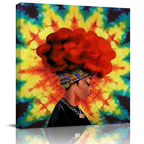 Krisyeol Canvas Wall Art Painting Wall Decor African Black Woman Red Hair Tie-Dyes Oil Painting Hang for Home Living Room Bedroom Office Decoration 24x24inch