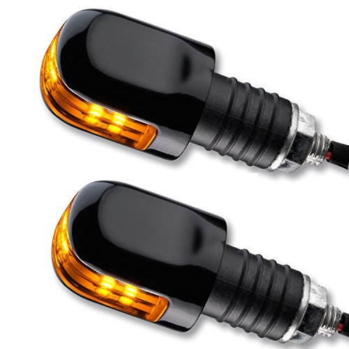 LED Ochsenaugen Blinker Lenkerenden Motorrad Blinker OX schwarz getönt