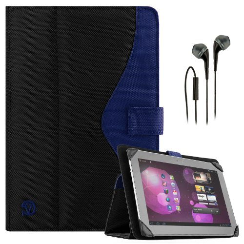SOHO Portfolio Stand Nylon Detachable Flip Cover Case Royal Blue for ASUS VivoTab RT & VivoTab Smart 10.1' Tablets + Black Handsfree Earphone/Microphone Headphones