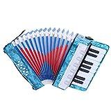 Drfeify Accordéon 17 Touches, 8 Basses accordéons 17 Touches pour débutants Enfants(Bleu Marine)