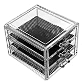 Lurrose Vitrinas cosméticas Caja de almacenamiento de escritorio con cajones para el hogar, la escuela y el dormitorio (negro, transparente)