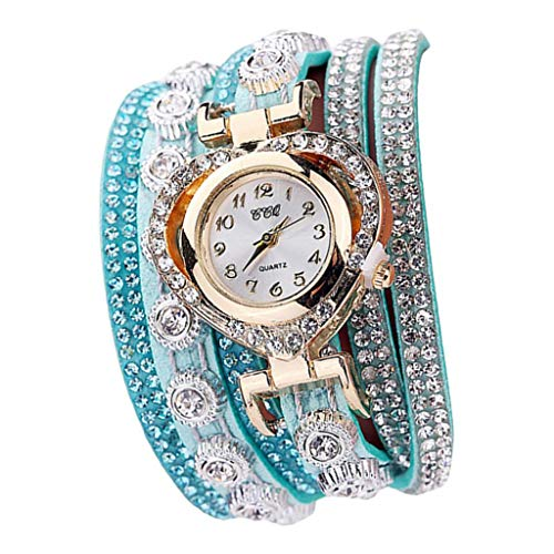 IPOTCH Reloj de Pulsera Diamantes Reloj de Pulsera para Mujer de Ajusable para Facil de Usado - Verde