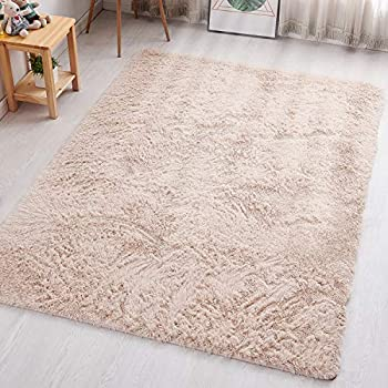 PAGISOFE Fluffy Hairy High Pile Furry Area Rugs Shag Throw Faux Fur Rug Carpet for Living Room Bedside Runner Decorations Modern Decor for Home Accents Decor for Kids Bedroom Footcloth 4x5  Beige