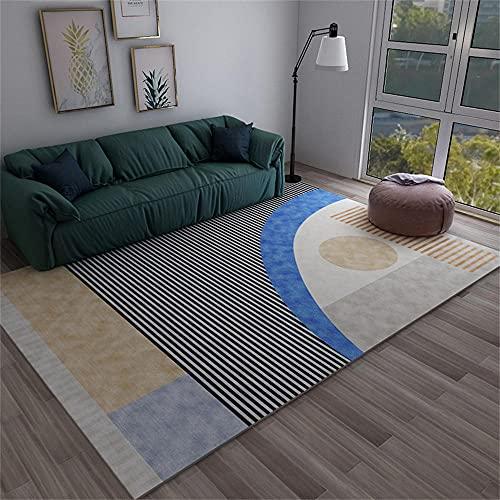 RUGMYW Absorción De Sonido Alfombra Moderna Salon Patrón geométrico de línea Azul...