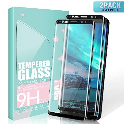 SGIN Galaxy S9 Vetro Temperato, [2 Pack] Alta qualità Vetro Temperato Pellicola Protettiva, Nessuna Bolla, Facile da Pulire, Anti-Impronte, Anti-Explosion, Anti Graffi, per Samsung Galaxy S9 - Nero