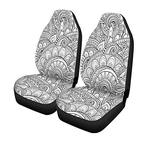 Beth-D Set met 2 stoelhoezen voor auto's, kruiden, eenkleurig, bloemenmotief, bloemenmotief, folies voor voorstoelen, universele bescherming, 14-17 inch