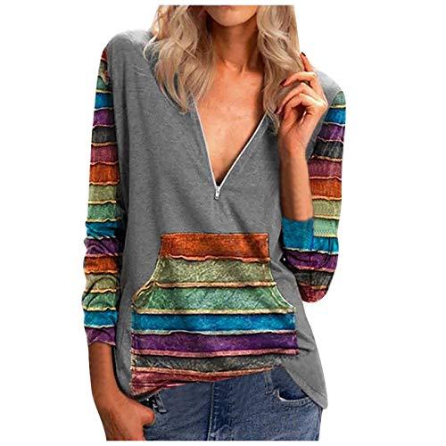 Fcostume - Sudadera con capucha para mujer, estilo informal, manga larga, cuello en V, con cremallera y bolsillos, gris, XXL