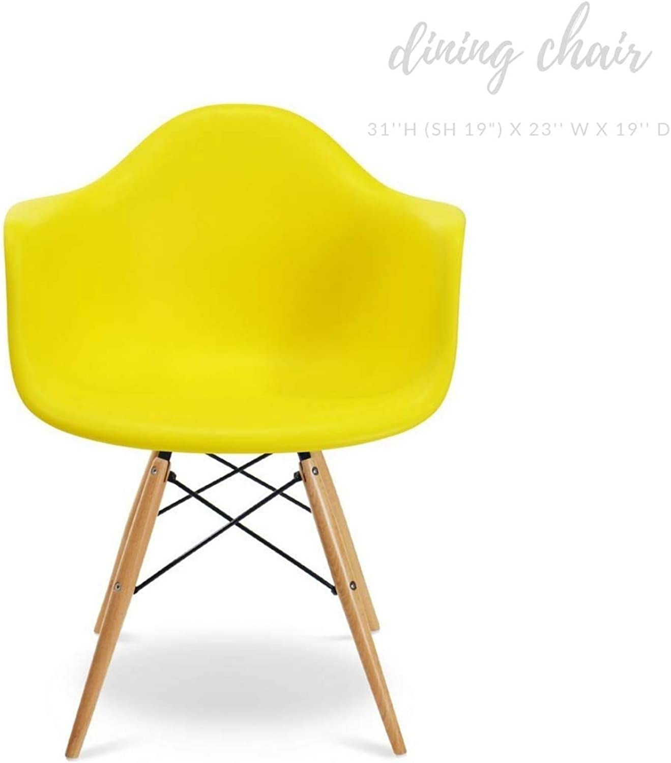 Take Me Home Furniture Eiffel Style Bucket Chair with Wood Legs, Yellow, Dining Chair