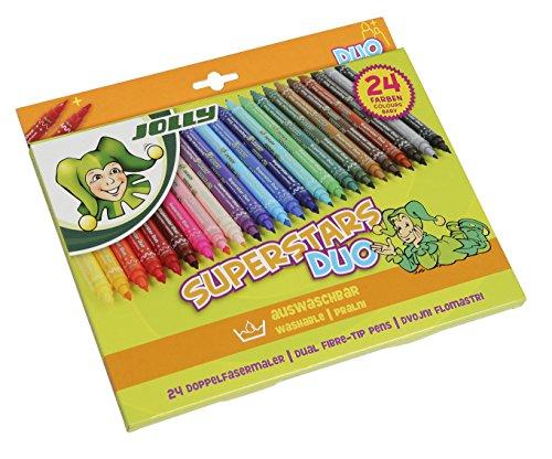 Jolly Superstar Duo Feutres de coloriage | Une pointe épaisse et une fine | Feutre de haute qualité | Lavable | 24 pièces dans un étui en carton