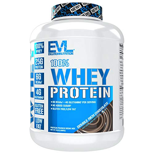Evlution Nutrition 100% Whey Protein, 25g of Whey Protein, 6g of BCAAs, 4g of Glutamine, Gluten Free (5 LB, Double Rich Chocolate) (Bollinger Special Cuvee Best Price)