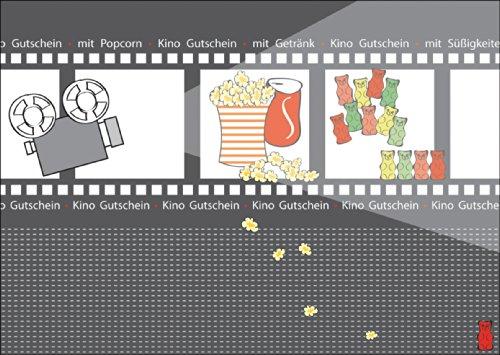 Fröhlicher (blanko) Kino Gutschein mit Popcorn, mit Getränk, mit Süßigkeiten • auch direkt Versand mit ihrem Text Einleger• schöne Grußkarte mit Umschlag, hochwertig und schön